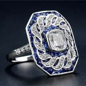 Jewelry - Silver Plated White Topaz Blue Sapphire Ring